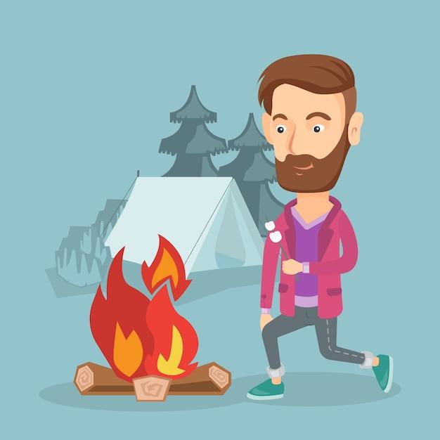 Homme d'affaires griller une guimauve sur un feu de camp. Vecteur Premium