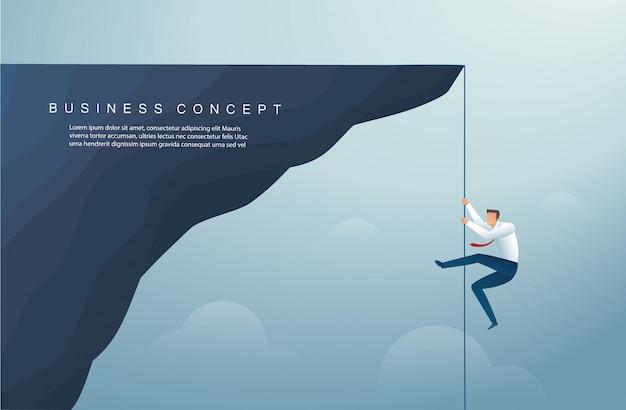 Homme d'affaires a grimpé le modèle de fond de montagne Vecteur Premium