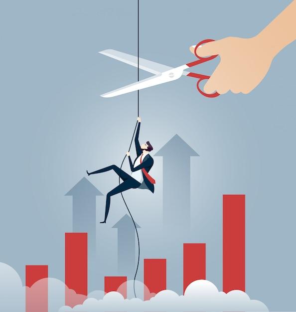 Homme d'affaires grimper sur une corde Vecteur Premium