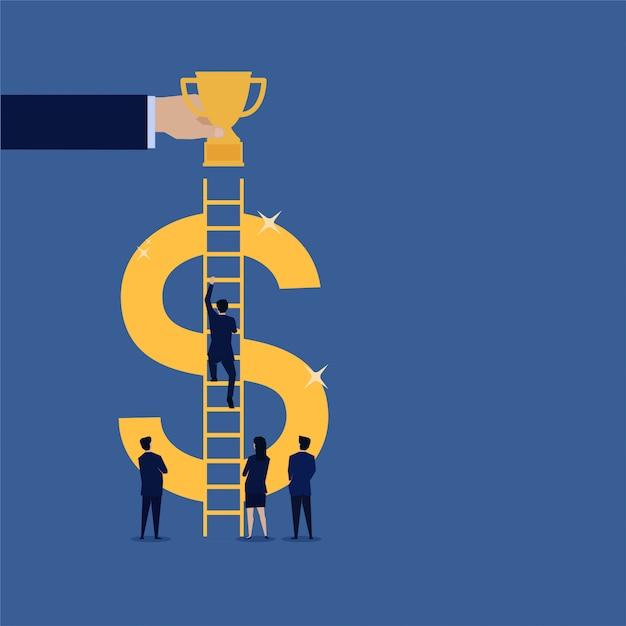Homme d'affaires grimper l'escalier en dollars au trophée du succès. Vecteur Premium