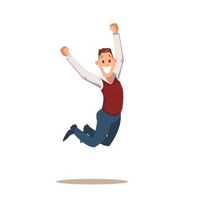 Homme d'affaires heureux célébrant la victoire en sautant Vecteur Premium