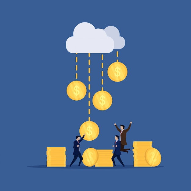 Homme d'affaires heureux pour la pluie d'argent de nuage en ligne. Vecteur Premium