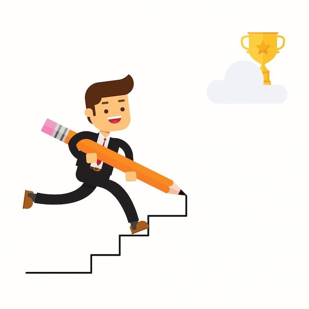 Homme d'affaires heureux utiliser un crayon pour créer son propre escalier Vecteur Premium