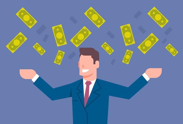 Homme d'affaires heureux vomir de l'argent concept de réussite financière riche homme d'affaires Vecteur Premium