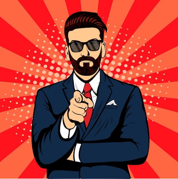 Homme d'affaires hipster barbu Vecteur Premium