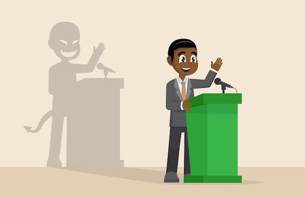 Homme d'affaires ou homme politique en costume à la tribune Vecteur Premium