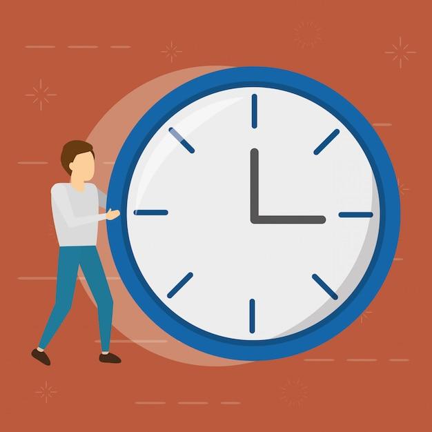 Homme D'affaires Avec Horloge Ronde ,, Style Plat Vecteur gratuit