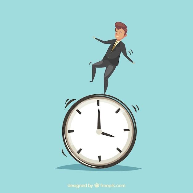 Homme d'affaires sur une horloge Vecteur gratuit