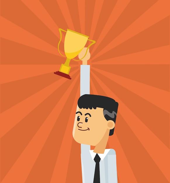 Homme d'affaires et icône de trophée Vecteur Premium