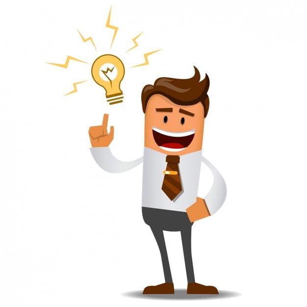 Homme D'affaires Avec Une Idée Géniale Vecteur gratuit