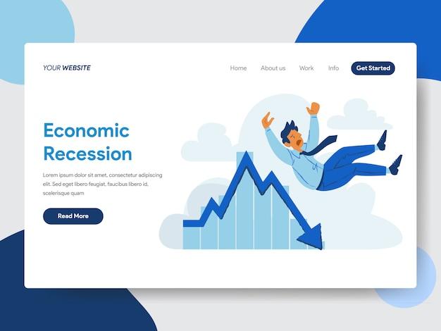 Homme d'affaires avec illustration de récession économique Vecteur Premium
