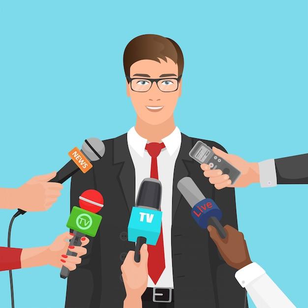 Homme d'affaires interviewé par des journalistes Vecteur Premium