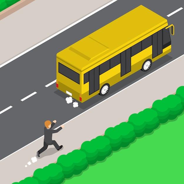 Homme D'affaires Isométrique 3d Plat Est En Cours D'exécution Suivez Le Bus Vecteur Premium