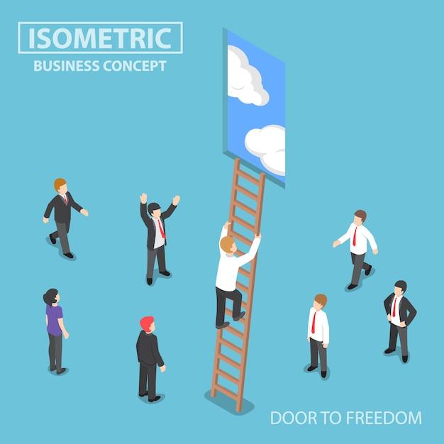 Homme D'affaires Isométrique, Escalade De L'échelle Jusqu'à La Porte Vecteur Premium