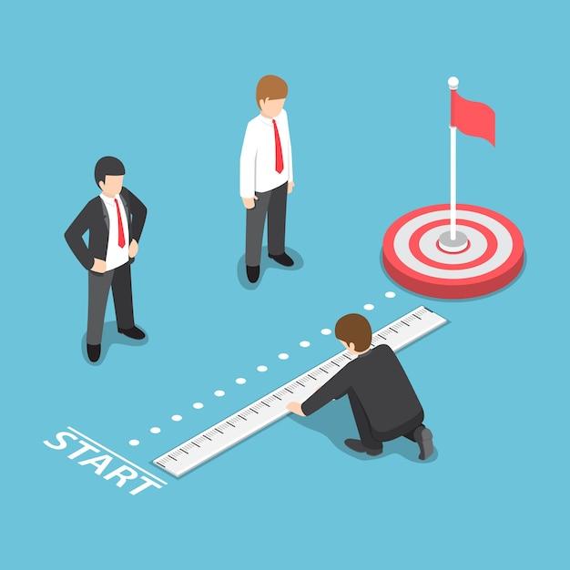 Homme D'affaires Isométrique Plat 3d Mesurant La Distance Entre Le Point De Départ Et La Cible. Concept D'analyse Des Objectifs Commerciaux Vecteur Premium