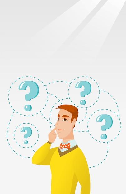 Homme d'affaires jeune pensant illustration vectorielle. Vecteur Premium