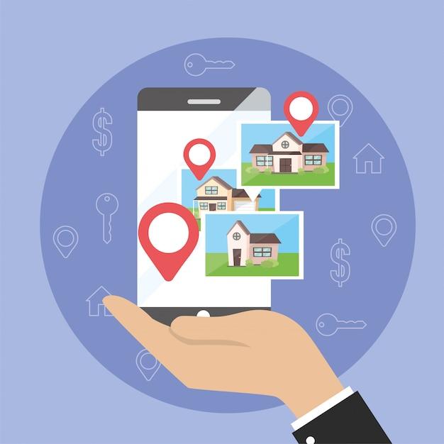 Homme d'affaires avec localisation de carte smartphone et propriété de maisons Vecteur Premium