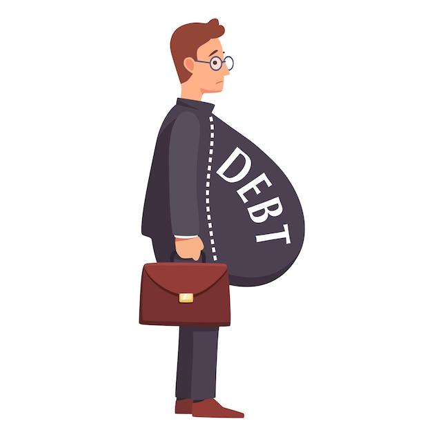 Un homme d'affaires maigre avec une charge lourde de charge de la dette Vecteur gratuit