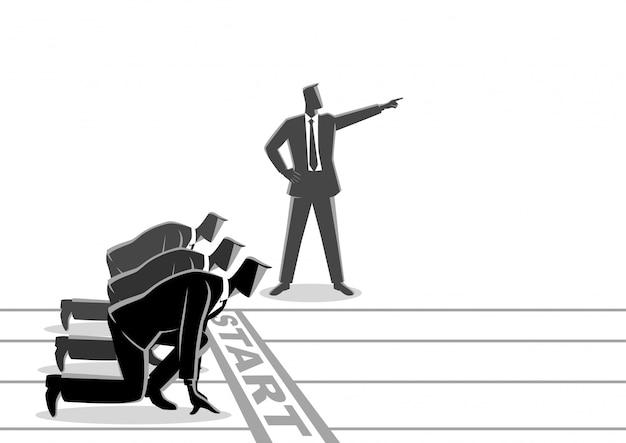 Homme d'affaires avec une main pointée ordonnant à son subordonné de commencer à courir Vecteur Premium