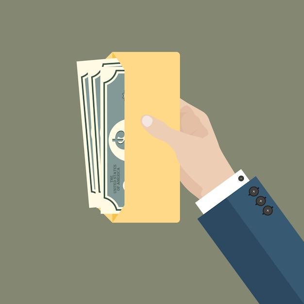 Homme D'affaires Main Tenir L'enveloppe Avec De L'argent Vecteur Premium