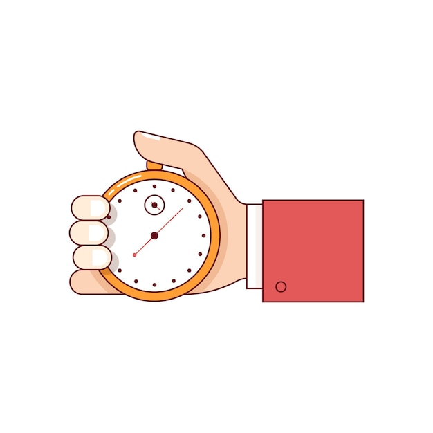 Homme affaires, main, tenue, chronomètre Vecteur gratuit
