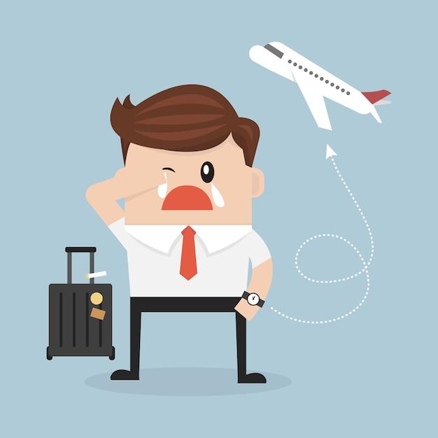 Homme D'affaires Manquant L'avion Vecteur Premium