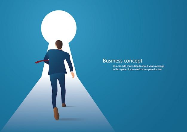 Homme d'affaires marchant dans le trou de la serrure Vecteur Premium