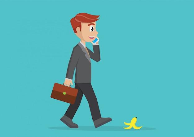 Homme d'affaires marchant et parlant avec smartphone. Vecteur Premium