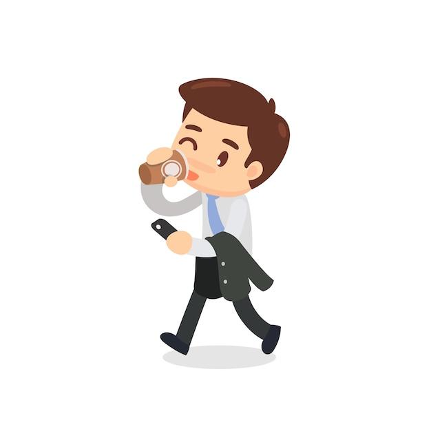 Un homme d'affaires marche et boit une tasse de café Vecteur Premium