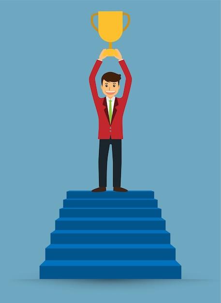 Homme affaires, marche haut, escaliers Vecteur Premium