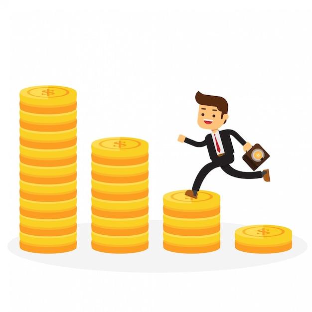 Homme d'affaires marche sur pile de pièces d'or Vecteur Premium