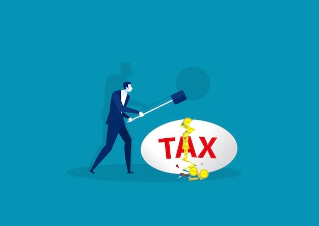Homme d'affaires avec marteau en acier et taxe sur la notion d'oeuf blanc. Vecteur Premium