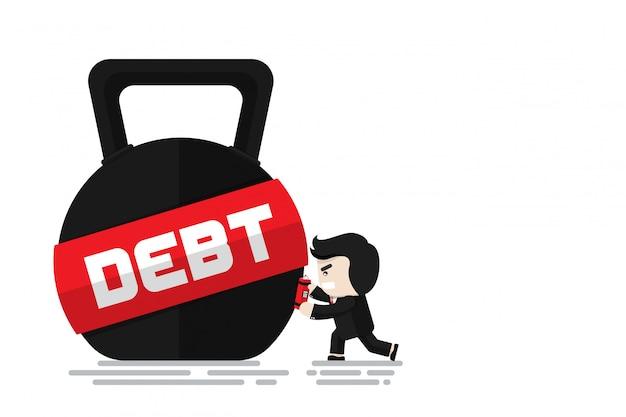 Homme d'affaires met en place une bombe de dynamite sur kettlebell avec mot dette pour casser la dette, personnage de design plat, élément d'illustration, casser la dette concept Vecteur Premium
