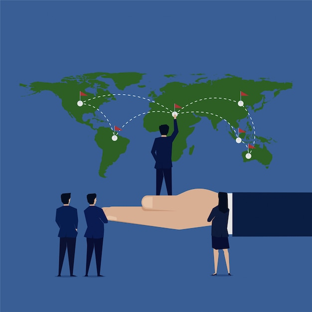 Homme d'affaires a mis le drapeau à la société d'expansion de la carte du monde. Vecteur Premium