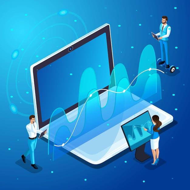 L'homme D'affaires Moderne Et Les Femmes D'affaires Travaillent Avec Des Gadgets, Une Gestion D'écran Virtuelle, Des Analyses, Des Graphiques Et Des Diagrammes Vecteur Premium