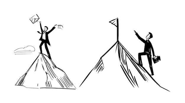 Un Homme D'affaires Monte La Colline. Symbole De Réussite. Vecteur Premium