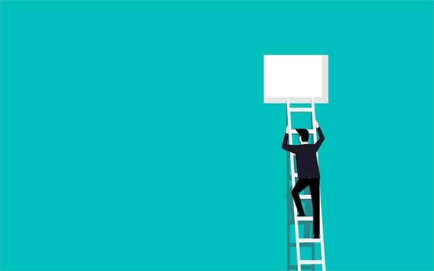 Homme d'affaires, monter les escaliers jusqu'à la fenêtre Vecteur Premium