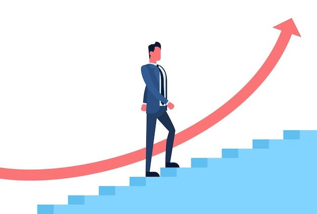 Homme d'affaires monter les escaliers symbole de succès financier de la flèche rouge Vecteur Premium