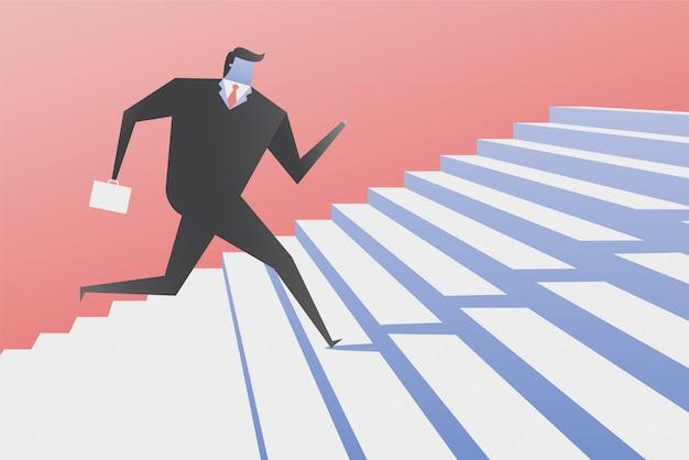 Homme d'affaires monter les escaliers. Vecteur Premium