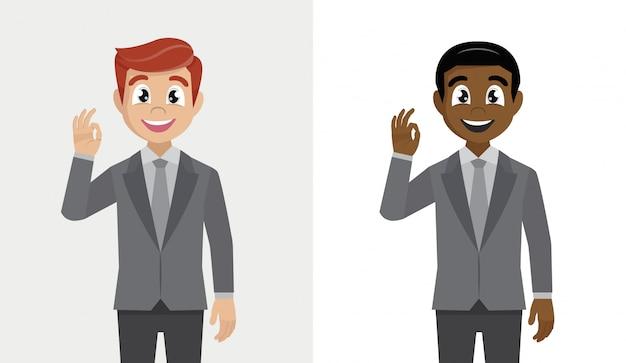 Homme D'affaires Montrant Le Geste Correct Ou Correct. Vecteur Premium