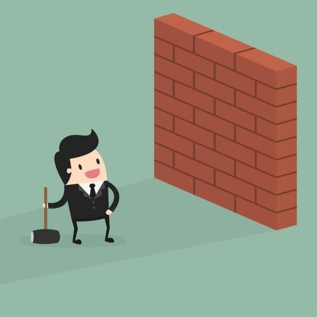 Homme d'affaires avec un mur Vecteur gratuit