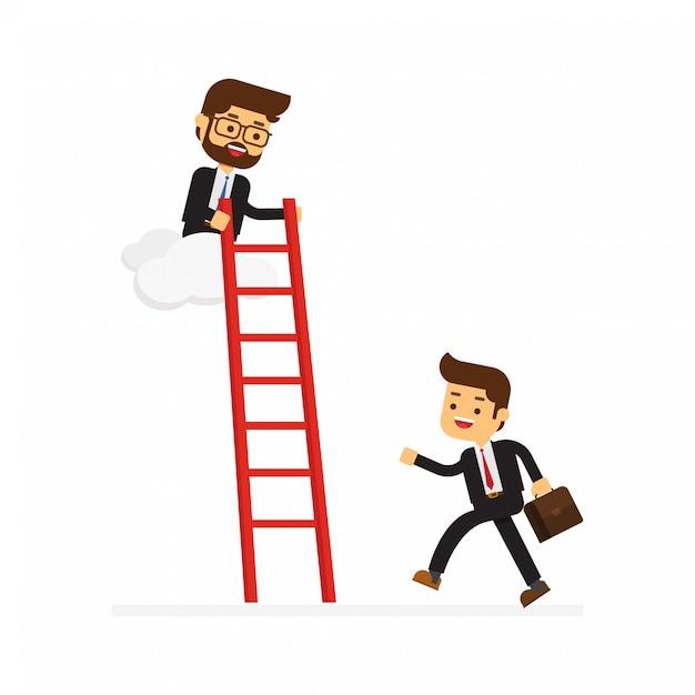 Homme d'affaires sur un nuage aide un autre ami en tenant une échelle Vecteur Premium