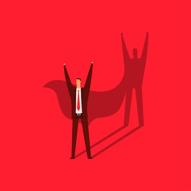Homme d'affaires avec une ombre d'une illustration de concept de dessin animé de vecteur de super-héros isolé sur fond rouge. Vecteur Premium