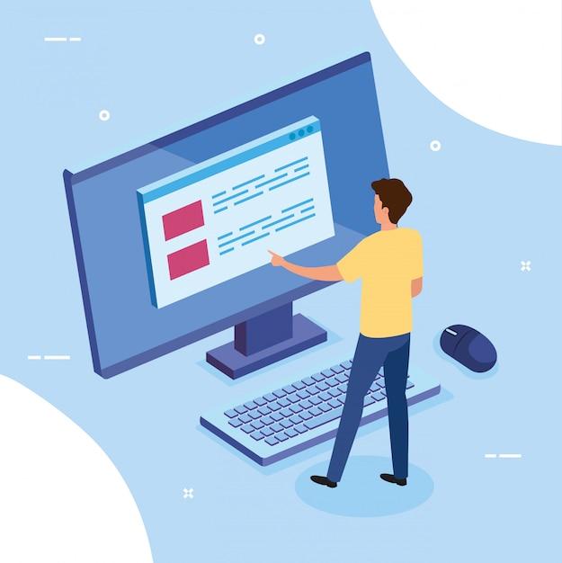 Homme d'affaires avec ordinateur de bureau Vecteur gratuit