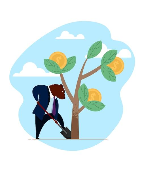 Homme d'affaires ours commerçant creuser croissance investissement Vecteur Premium