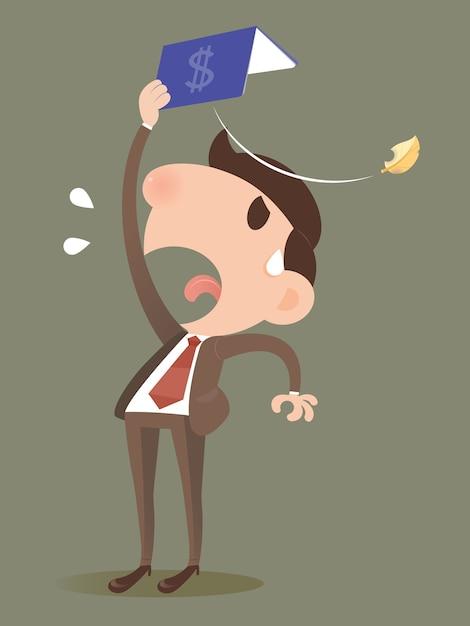 Homme d'affaires perdant de l'argent à partir d'un livre de banque. Vecteur Premium