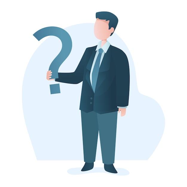 Homme d'affaires permanent détient illustration de point d'interrogation Vecteur Premium