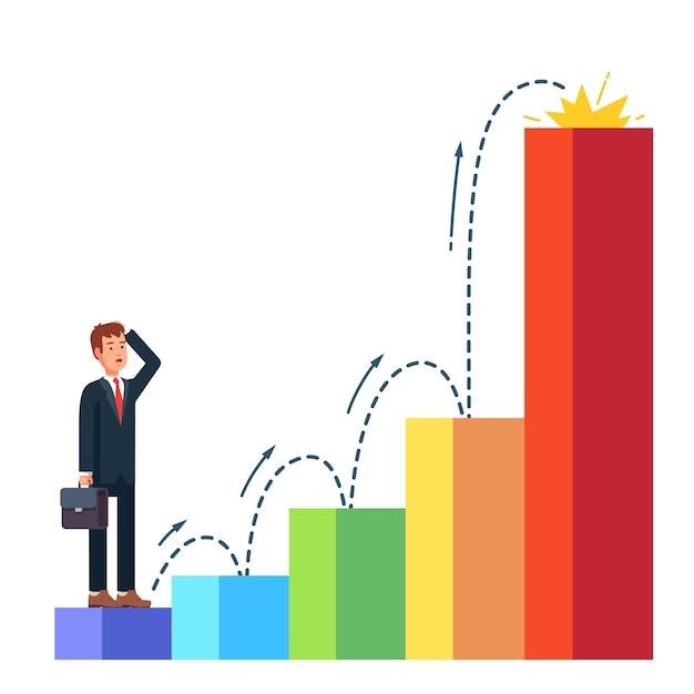 L'homme d'affaires planifie sa croissance professionnelle Vecteur gratuit