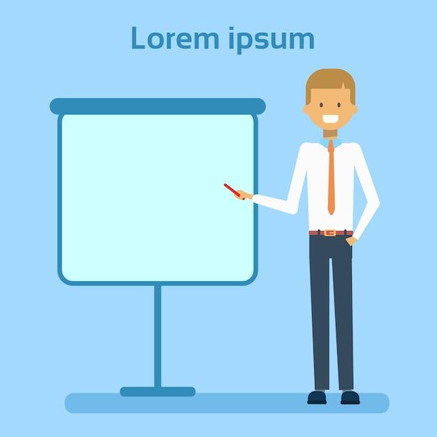 Homme affaires, pointage, vide, tableau blanc, projection, copie, espace, présentation, homme affaires, ou, conférence, concept Vecteur Premium