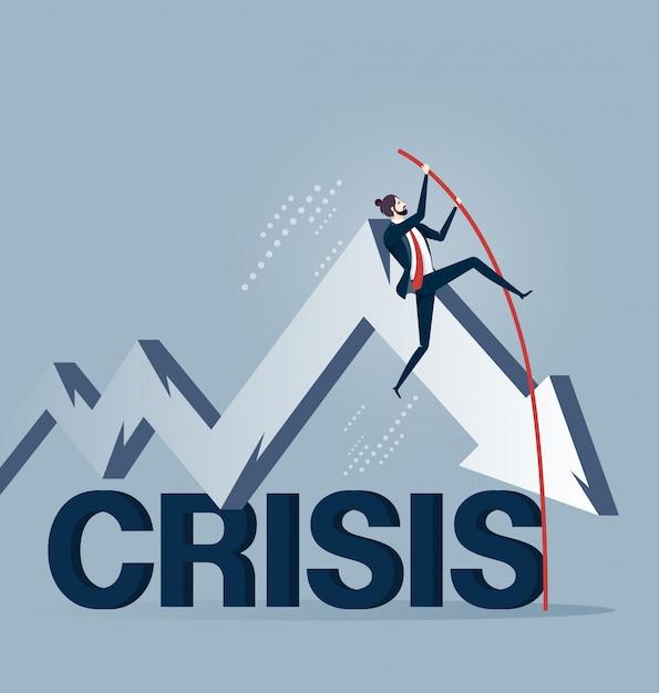 Homme affaires, pôle, vaulting, sur, crise, dans, business concept Vecteur Premium